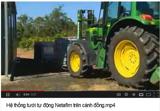 Hệ thống tưới tự động Netafim trên cánh đồng